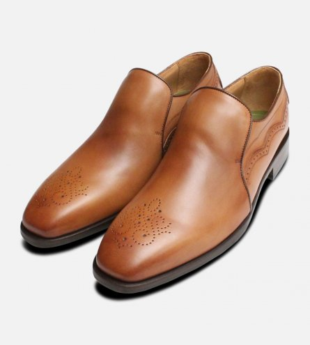 Tan Leather Italian Loafers for Men by Oliver Sweeney