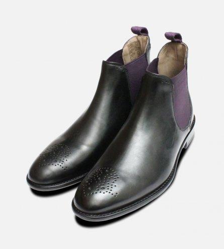 Oliver Sweeney Black & Purple Designer Chelsea Boots