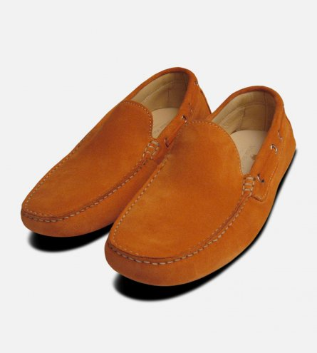 Orange Suede Mens Driving Shoes