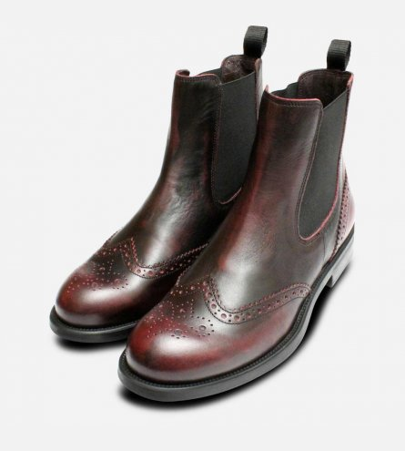 Designer Burgundy Ladies Italian Chelsea Boot Brogues