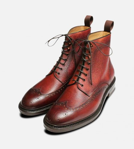 Oxblood Burgundy Carlos Santos Brogue Boots