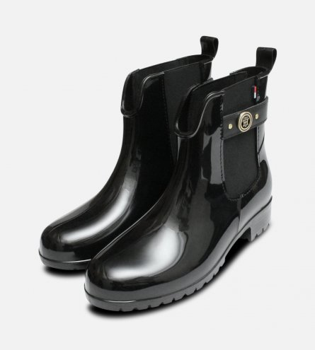 Black Oxley Chelsea Wellies by Tommy Hilfiger Boots