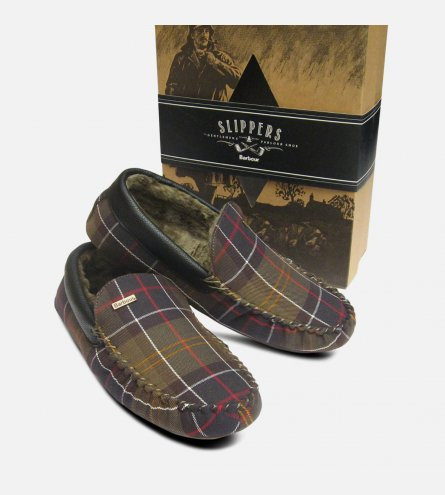 Barbour Monty Classic Tartan Warm Mens Slippers