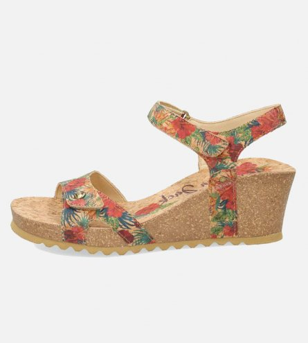 39b232bf4 Panama Jack Julia Womens Cork Flower Leather Sandals