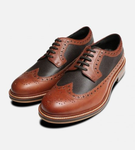 Tan Wingtip Two Tone Brogues by Thomas Partridge