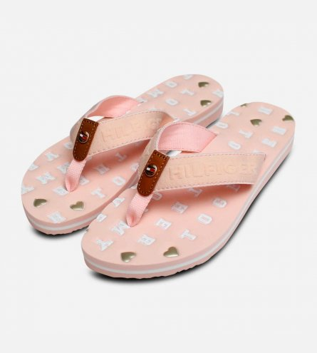 e29f95877a9c Tommy Hilfiger Pink Womens Embossed Flip Flop Sandals