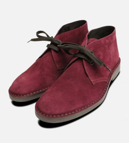 Dark Plum Purple Suede Mens Desert Boots
