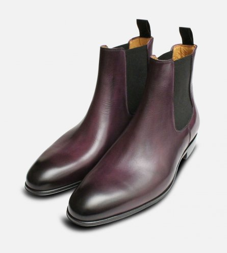 Purple Aubergine Chelsea Boots for Men