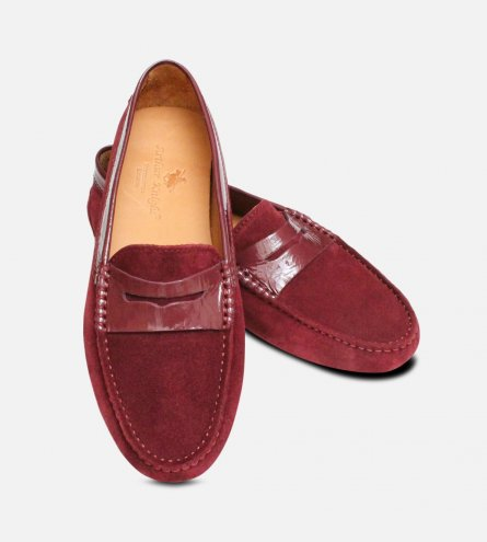 Aubergine Velour Ladies Driving Shoe Moccasins