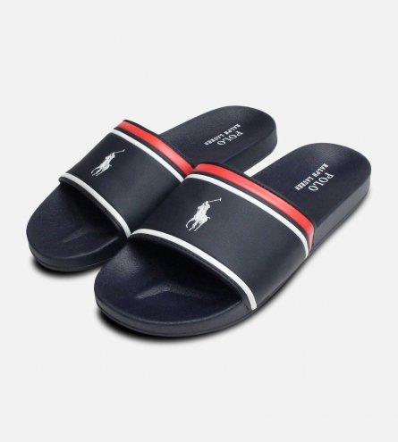 Navy Blue White Ralph Lauren Quilton Slide Sandal