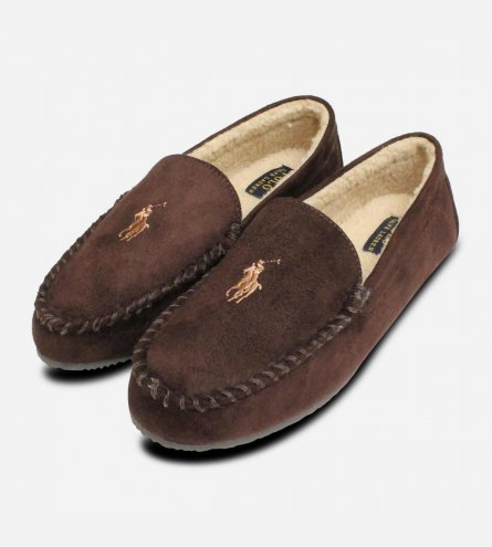 Ralph Lauren Polo Mens Slippers in Chocolate Brown