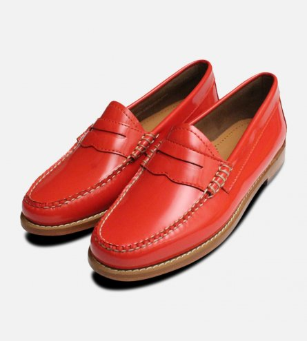 Lipstick Patent Leather Ladies Penny Loafers Bass Shoes