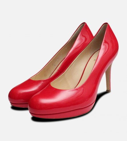 Red Patent Leather Hogl High Heel Shoes