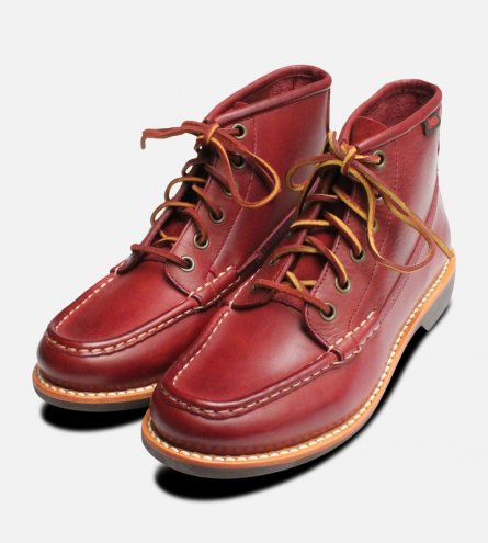 Red Leather Ladies Bass Quail Hunter Lace Boots