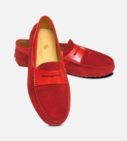 Crimson Red Suede & Patent Arthur Knight Ladies Driving Shoe Moccasins