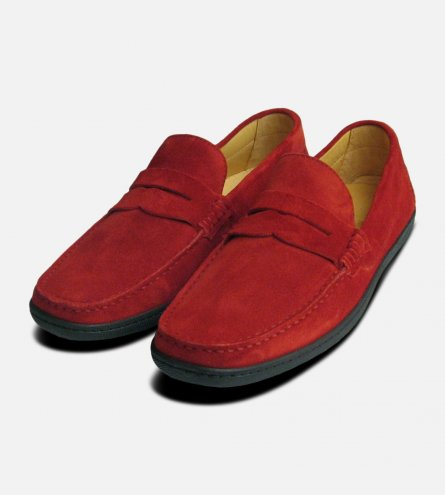 Red Suede Rubber Soled Driving Shoes
