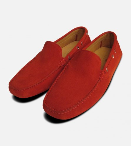 Red Suede Driving Shoe Moccasins for Men