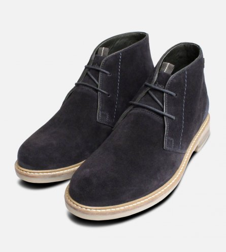 Navy Blue Suede Barbour Chukka Boots