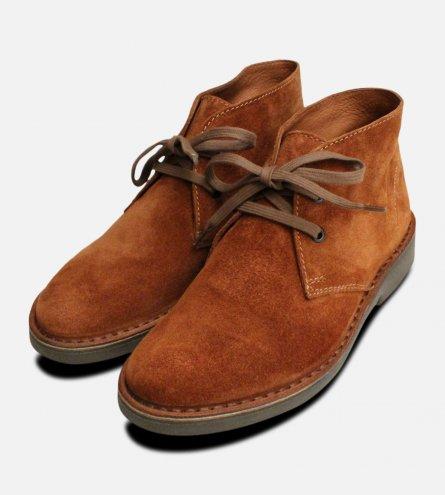 Ladies Cognac Suede Italian Desert Boots