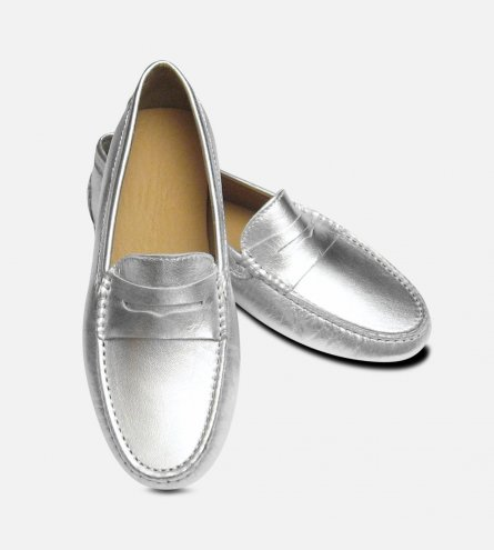 Silver Metallic Leather Arthur Knight Ladies Italian Driving Shoes
