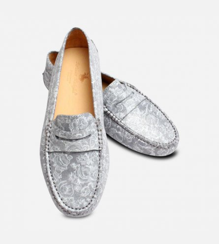 Ladies Silver Flower Italian Driving Shoe Moccasins