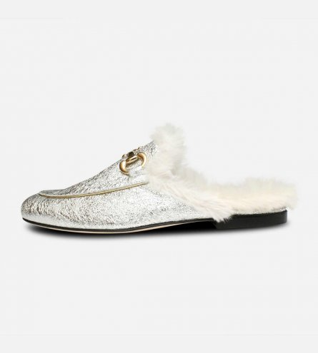 Metallic Silver Backless Designer Ladies Fur Loafers