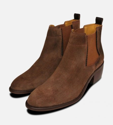 Western Cuban Heel Chelsea Boots in Brown Suede