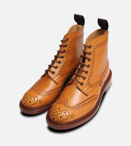 Acorn Tan Ladies English Country Brogues Trickers Stephy
