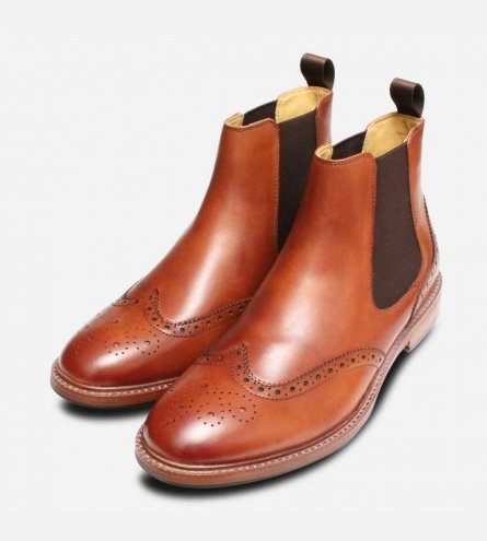 Steptronic Buckingham 2 Country Brogue Boots in Cognac