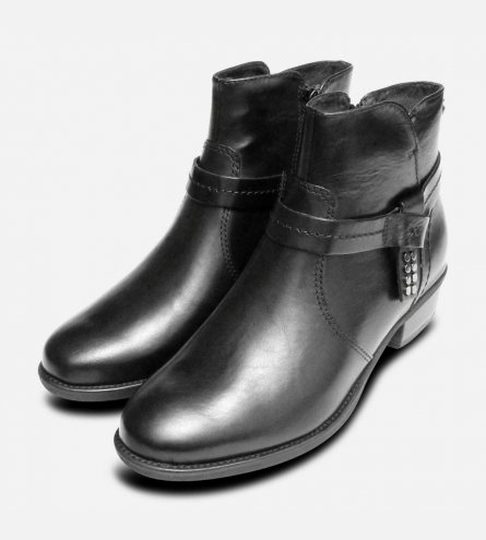 Black Leather Tamaris Ladies Ankle Boots with Side Zip