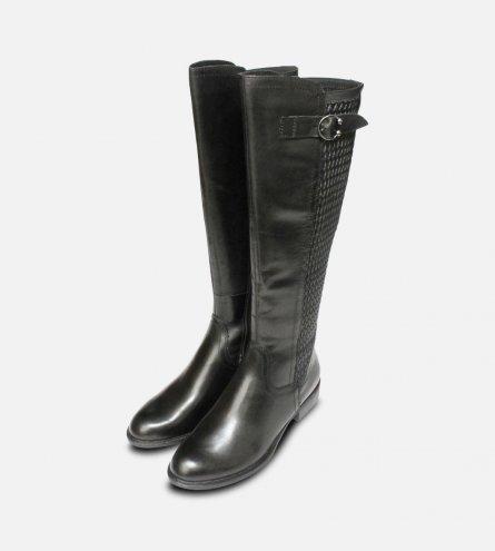 Tamaris Full Length Plain Black Ladies Zip Boots