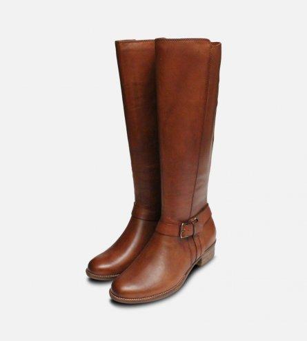 Tamaris Brown Leather Ladies Tall Zip Boots