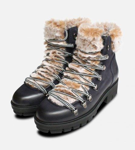 Tamaris Navy Blue Fur Boots Designer Urban Trekker