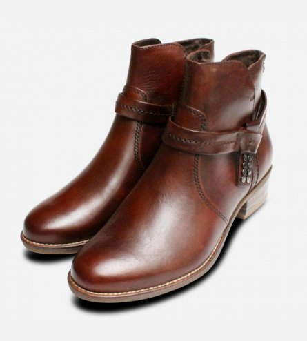 Nut Brown Tamaris Ankle Zip Boots for Ladies