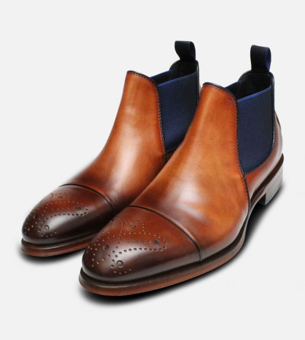 Designer Italian Brown & Blue Chelsea Boot Brogues