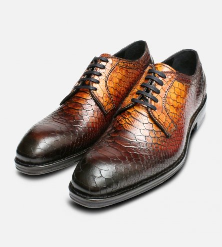 Luxury Brown Italian Snakeskin Shoes