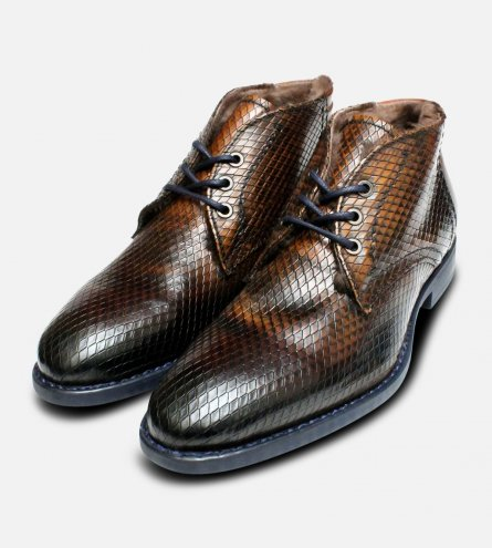 Fur Lined Italian Chukka Boots in Tan Snake Effect