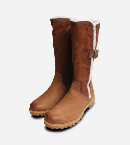 Brown & Tan Tamaris Side Zip Long Boots Duo-Tex