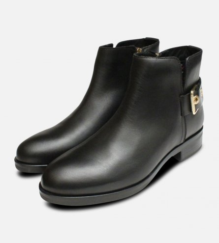 Tessa Gold Buckle Ankle Boots in Black by Tommy Hilfiger