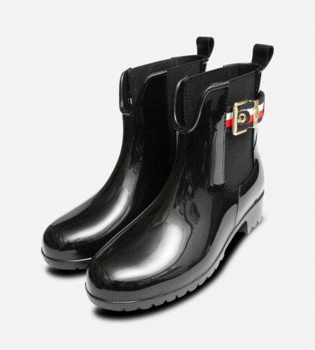 Luxury Tommy Hilfiger Black Chelsea Welly for Ladies