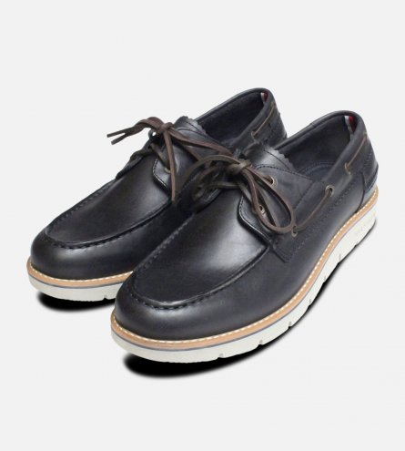 New Tommy Hilfiger Case Boat Shoes in Navy Blue