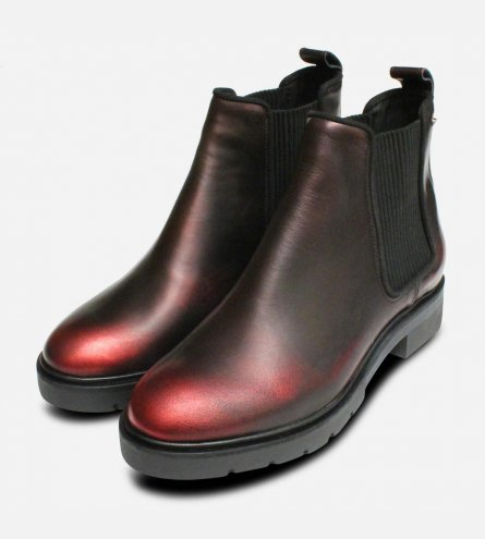 Dark Metallic Red Leather Tommy Hilfiger Chelsea Boots