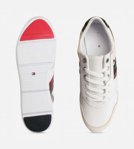 9b017b079d66 White Leather Tommy Hilfiger Lightweight Ladies Trainers