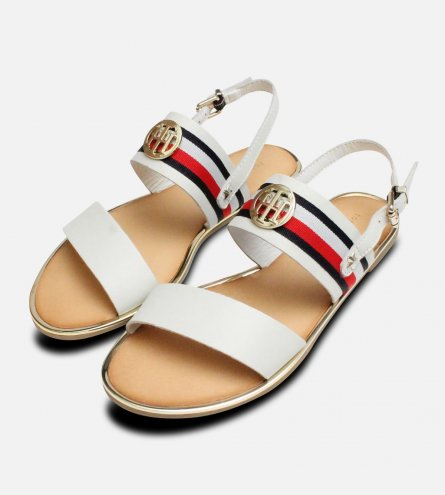 Tommy Hilfiger White Summer Sandals with Gold Trim