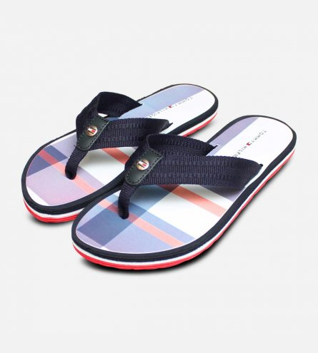 2b7bb20c9 Luxury Tommy Hilfiger Red White Blue Check Flip Flop Sandal