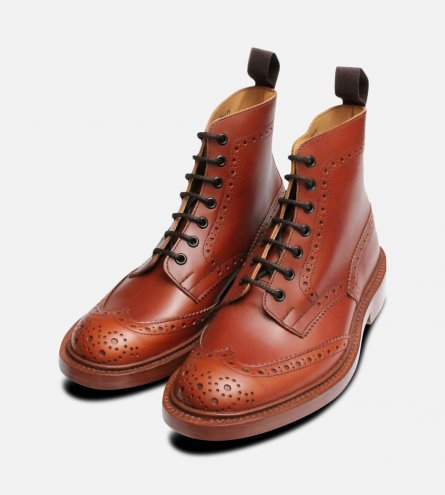 Trickers Stow Marron Country Brogue Boot