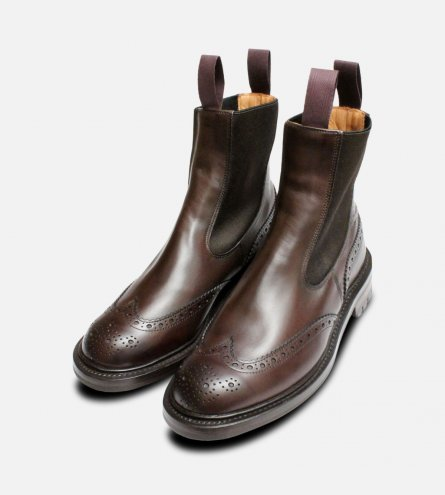 Trickers Espresso Brown Brogue Chelsea Boots Silvia