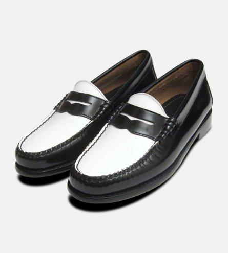 Black & White Ladies Penny Loafers