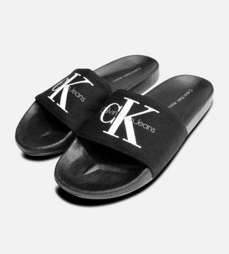 Calvin Klein Viggo Slides in Black Canvas Sandals