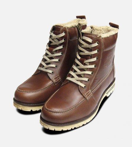 Brown Aviator Warm Bugatti Mens Boots